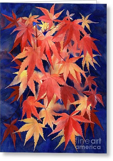 Red And Blue Maple Leaf Design Greeting Card