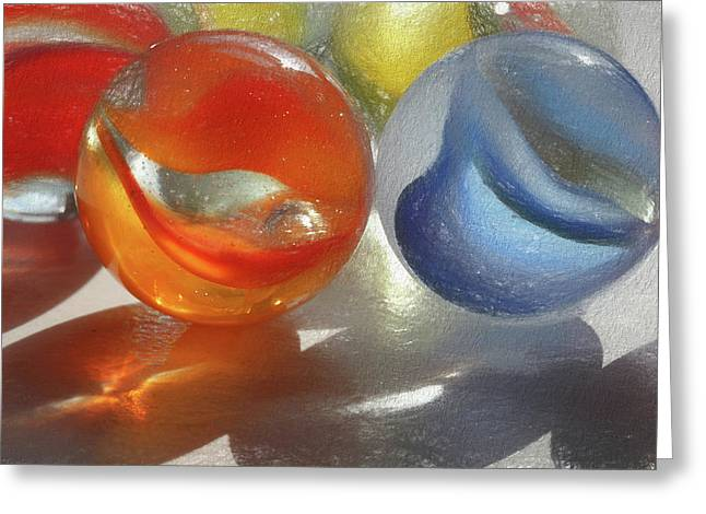 Red And Blue Marbles Greeting Card