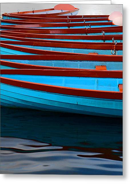 Red And Blue Paddle Boats Greeting Card