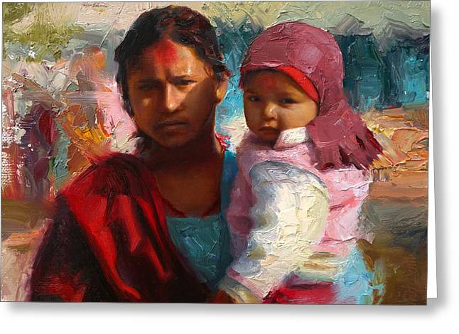 Red And Blue Portrait Of Nepalese Mother And Child Greeting Card