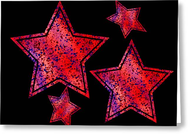 Red And Blue Splatter Abstract Greeting Card