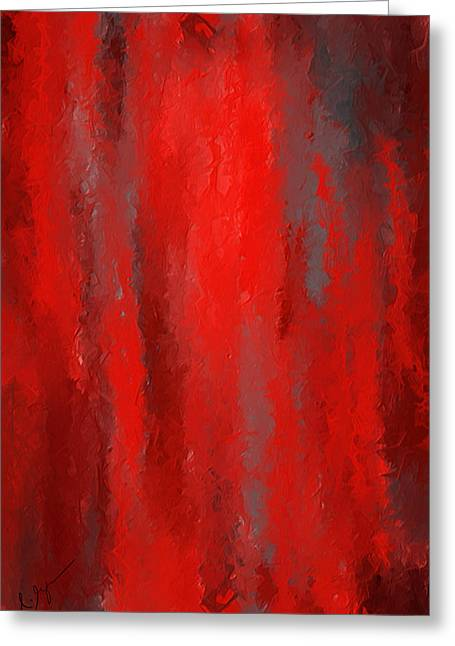 Red And Bold - Red And Gray Art Greeting Card by Lourry Legarde