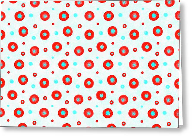 Red And Cyan Circles Pattern Greeting Card