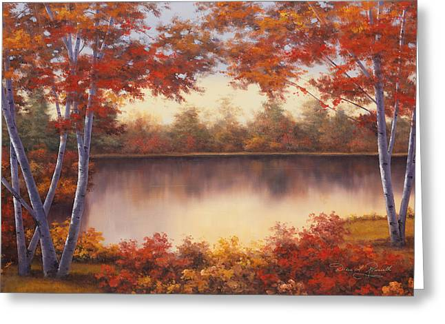 Red And Gold Greeting Card by Diane Romanello