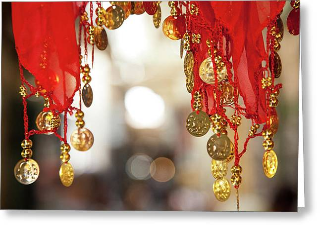 Red And Gold Entrance To Market Greeting Card