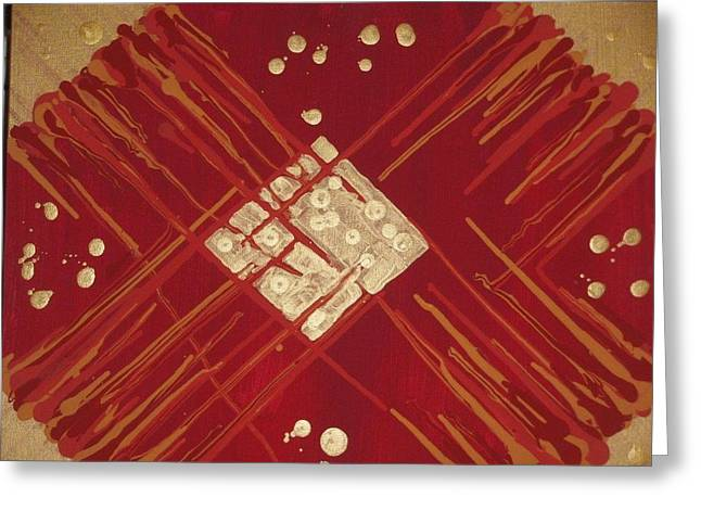 Red And Gold No. 3 Greeting Card by Samuel Freedman