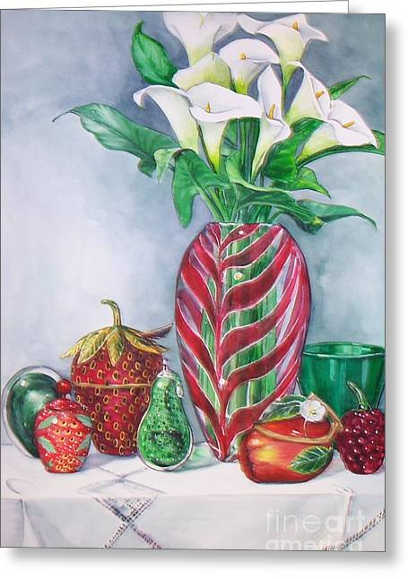 Red And Green Composition Greeting Card