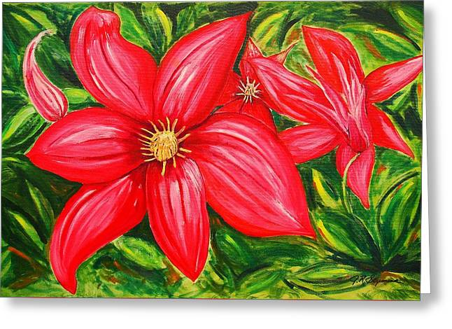 Red And Green Greeting Card by J R Seymour