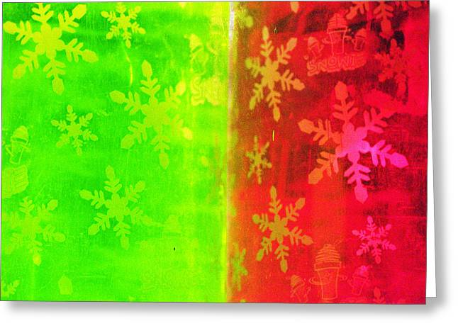 Red And Green With A Snowflake Pattern Greeting Card by Richard Henne
