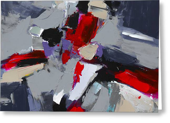 Red And Grey Abstract By Elise Palmigiani Greeting Card by Elise Palmigiani