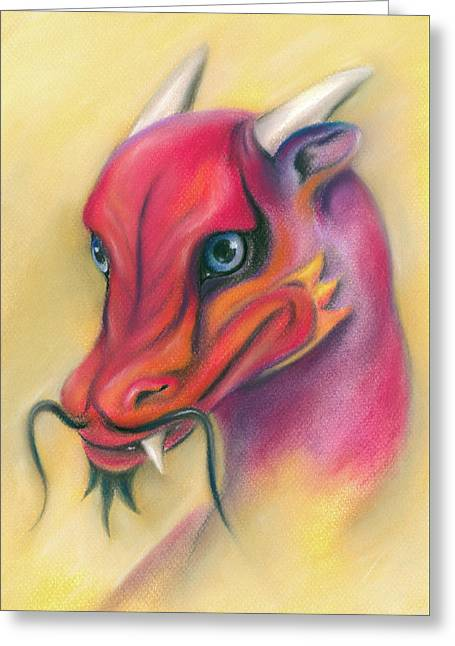 Greeting Card featuring the pastel Red And Orange Asian Dragon by MM Anderson