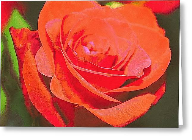 Red And Orange Greeting Card by Cathie Tyler
