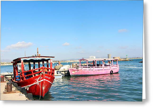 Red And Pink Boats Greeting Card by Munir Alawi
