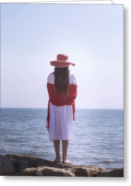 Red And White At The Sea Greeting Card by Joana Kruse