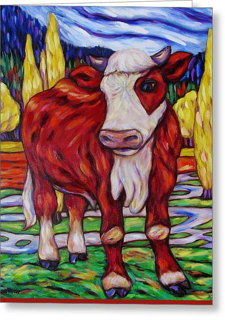 Greeting Card featuring the painting Red And White Bull Calf by Dianne  Connolly