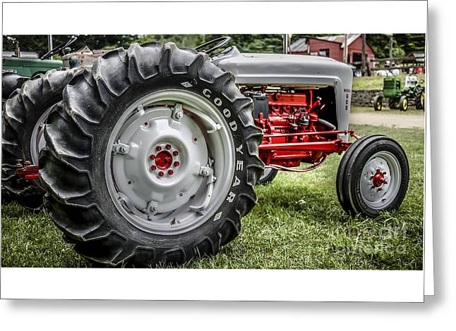 Red And White Ford Model 600 Tractor Greeting Card by Edward Fielding