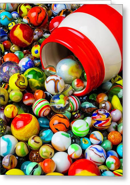 Red And White Jar With Marbles Greeting Card by Garry Gay