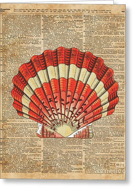 Red And White Ocean Sea Shell Dictionary Book Page Art Greeting Card by Jacob Kuch