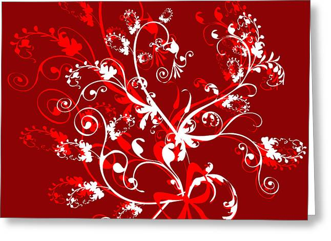 Red And White Ornaments Greeting Card by Svetlana Sewell