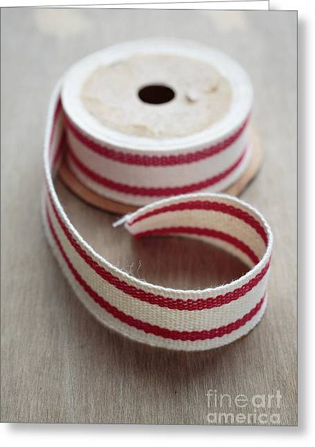 Red And White Ribbon Spool Greeting Card