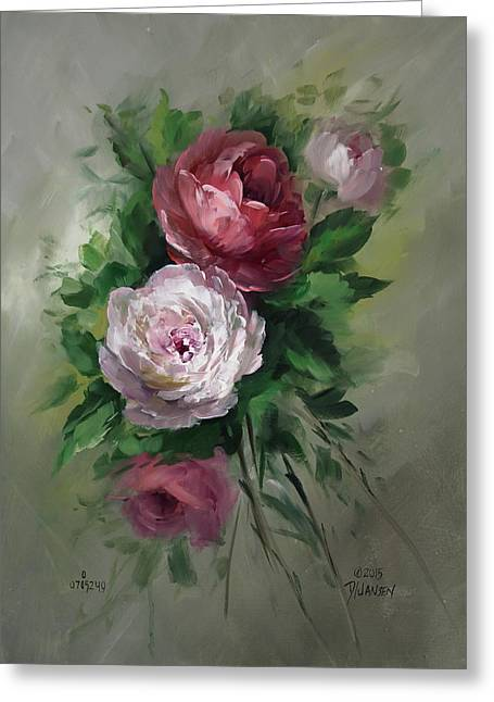 Red And White Roses Greeting Card by David Jansen
