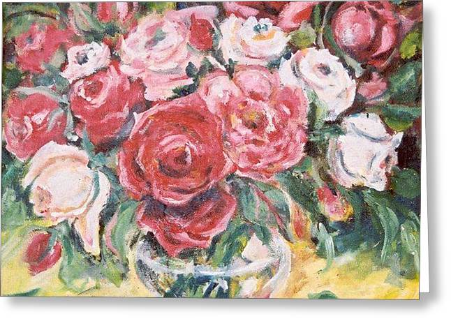 Red And White Roses Greeting Card