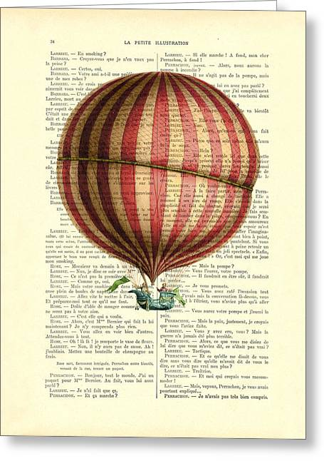 Red And White Striped Hot Air Balloon Antique Photo Greeting Card