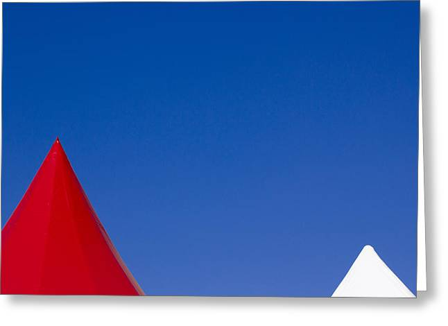 Red And White Triangles Greeting Card by Prakash Ghai