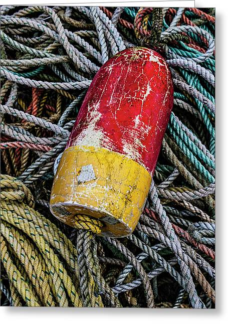 Red And Yellow Buoy Greeting Card