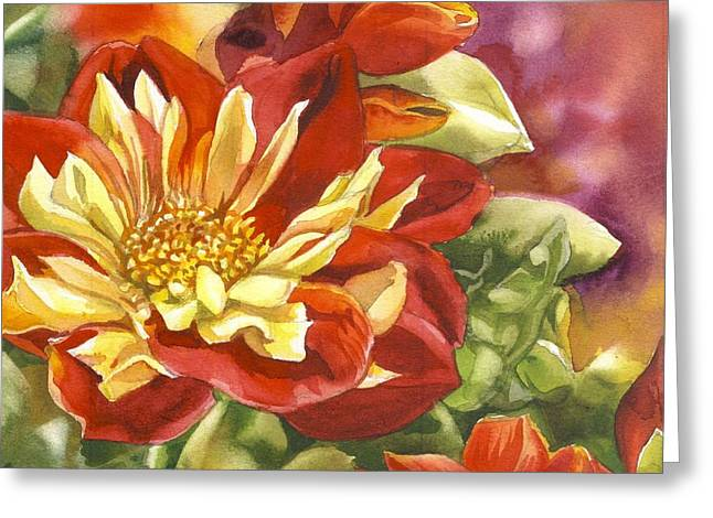 Red And Yellow Dahlias Watercolor Greeting Card