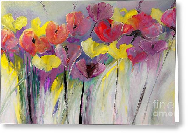 Red And Yellow Floral Field Painting Greeting Card by Lisa Kaiser