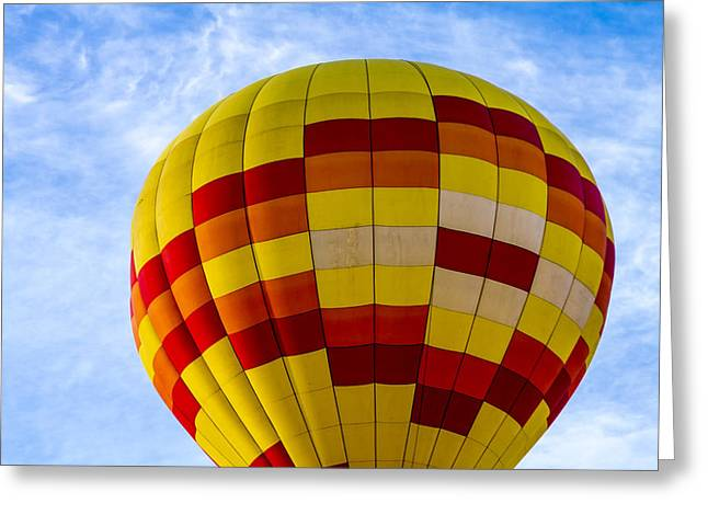 Red And Yellow Hot Air Balloon Greeting Card by Teri Virbickis