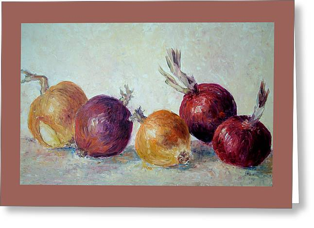 Red And Yellow Onions Greeting Card by Jill Musser