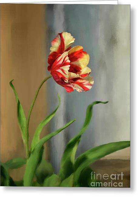 Red And Yellow Parrot Tulip Greeting Card