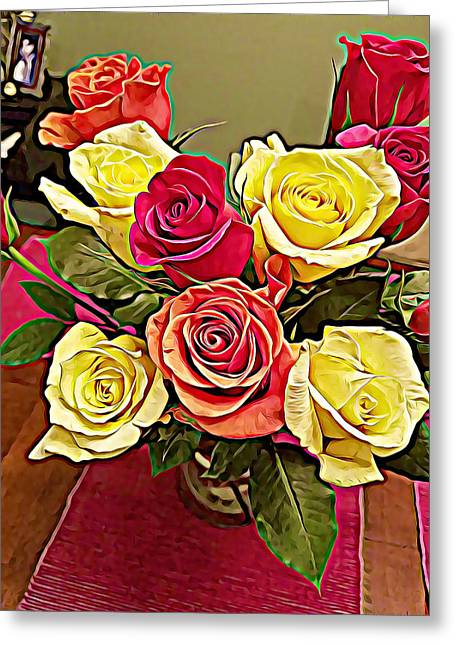 Red And Yellow Rose Bouquet Greeting Card