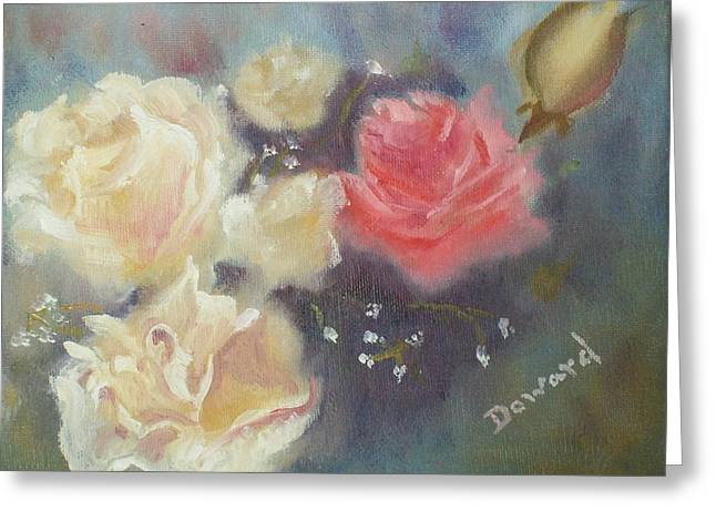 Red And Yellow Roses Greeting Card by Raymond Doward
