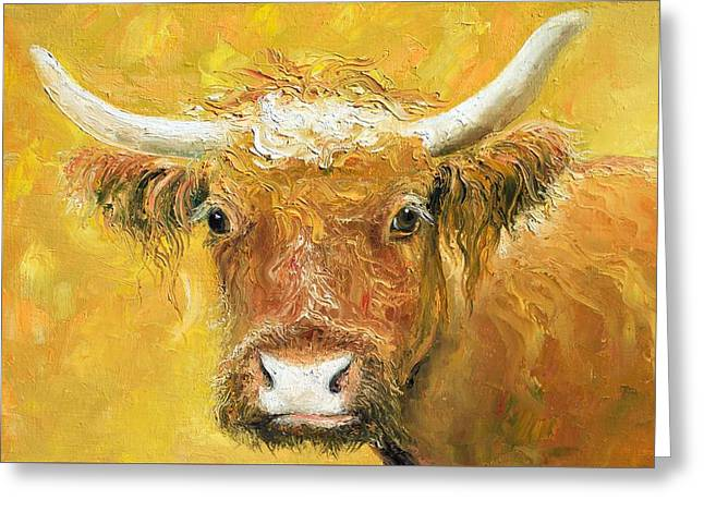 Red Angus Cow Greeting Card by Jan Matson