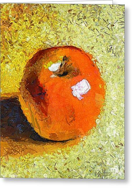 Greeting Card featuring the painting Red Apple by Dragica  Micki Fortuna