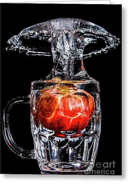 Greeting Card featuring the photograph Red Apple Splash by Ray Shiu
