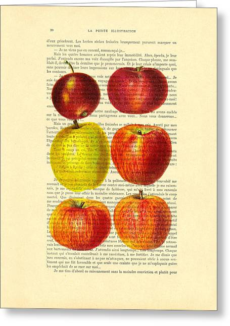 Red Apples Still Life Vintage Illustration Greeting Card by Madame Memento