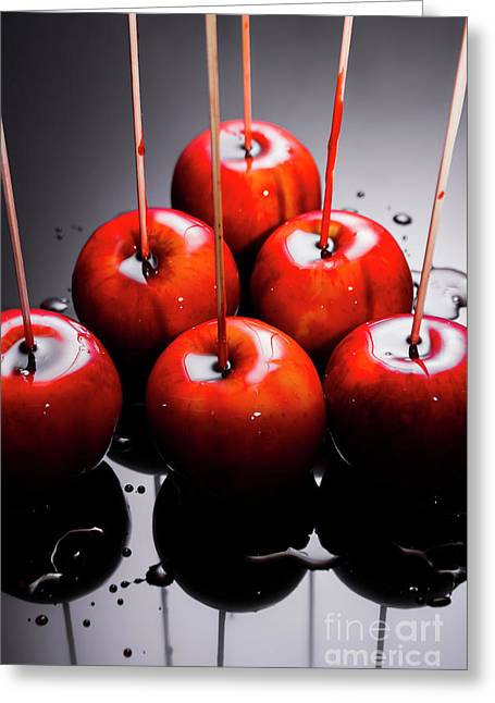 Red Apples With Caramel  Greeting Card