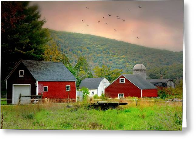 Red Around The Silo Greeting Card