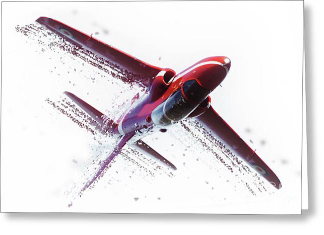 Red Arrow Shatter Greeting Card by J Biggadike