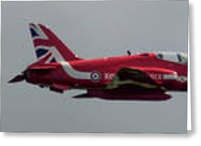Greeting Card featuring the photograph Red Arrow Straight - Teesside Airshow 2016 by Scott Lyons