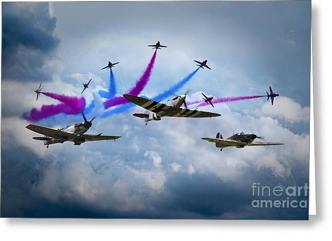 Red Arrows And Battle Of Britain Memorial Flight Greeting Card by J Biggadike
