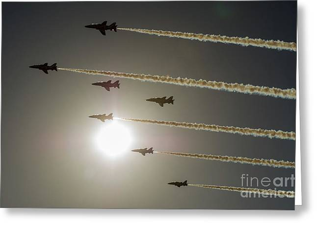 Greeting Card featuring the photograph Red Arrows Backlit Arrival  by Gary Eason