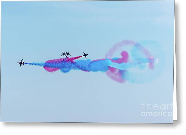 Greeting Card featuring the photograph Red Arrows Break by Gary Eason