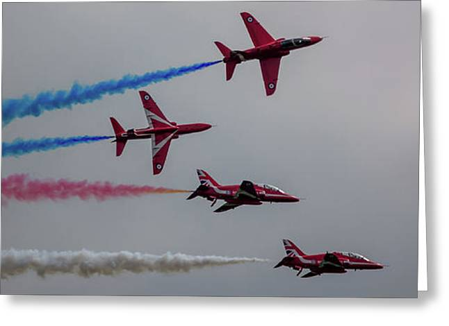 Greeting Card featuring the photograph Red Arrows Break Off - Teesside Airshow 2016 by Scott Lyons