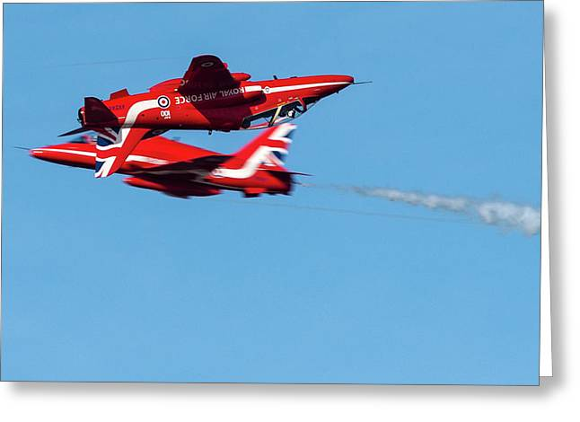 Greeting Card featuring the photograph Red Arrows  by Cliff Norton