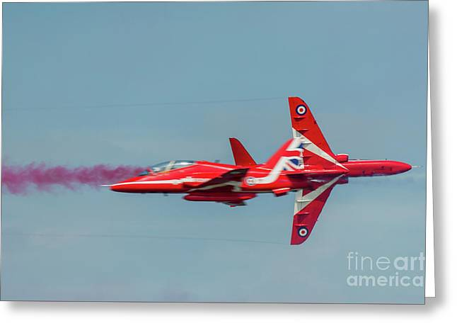 Greeting Card featuring the photograph Red Arrows Crossover by Gary Eason